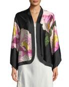 Clair de Lune Silk Kimono Lounge Jacket