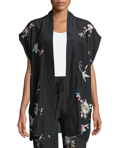 Mariposa Embroidered Silk Vest