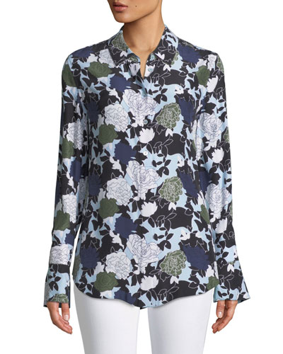 Daphne Button-Front Long-Sleeve Floral-Print Silk Shirt