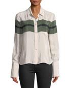 Huntley Button-Front Chest Stripe Bell-Sleeve Silk Shirt