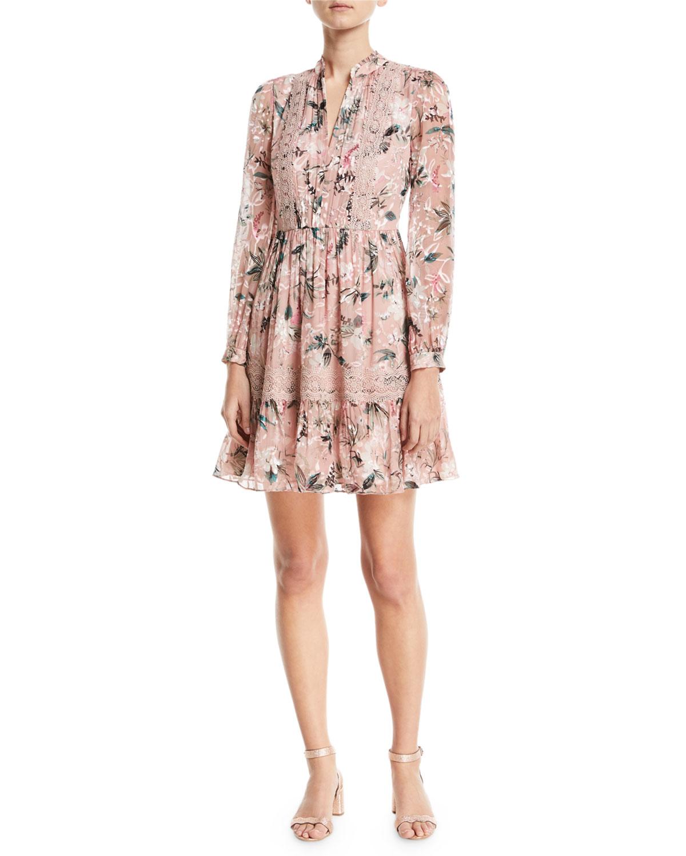 botanical chiffon silk-blend mini dress