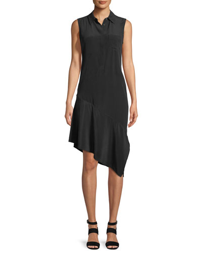 Tira Sleeveless A-Line Silk Dress with Asymmetric Hem