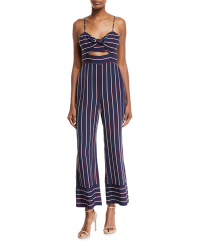 Lulu Sleeveless Cutout Wide-Leg Striped Jumpsuit