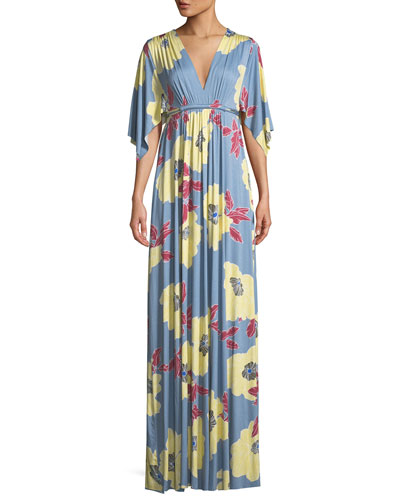 Bloom-Print Long Caftan Dress