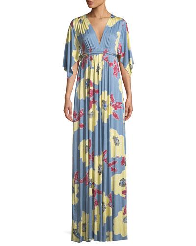 Bloom-Print Long Caftan Dress, Plus Size