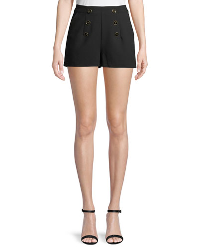 Eli Crepe Shorts with Buttons