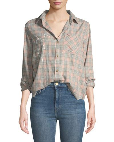 The Ivie Button-Front Plaid Shirt w/ Paint Splatter