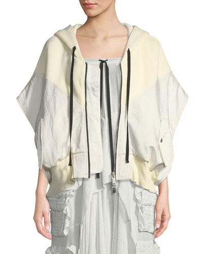Short-Sleeve Hybrid Cropped Sweatshirt