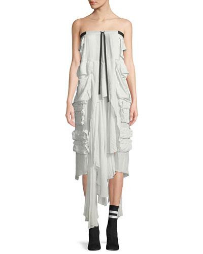 Strapless Silk Cargo Layered Dress