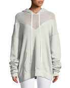 Hooded Mesh Pullover Sweatshirt