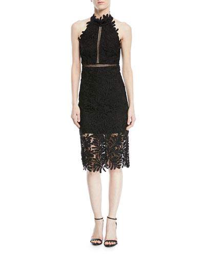 Kara Halter Lace-Guipure Cocktail Dress