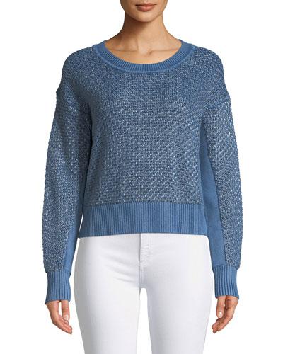 Kyra Crewneck Metallic Knit Pullover