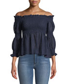 Aspen Off-the-Shoulder Smocked Crochet Lace Top