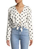 Tie-Front Long-Sleeve Dot-Print Shirt