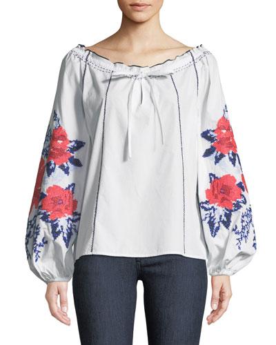 Laureena Floral-Print Off-the-Shoulder Blouse