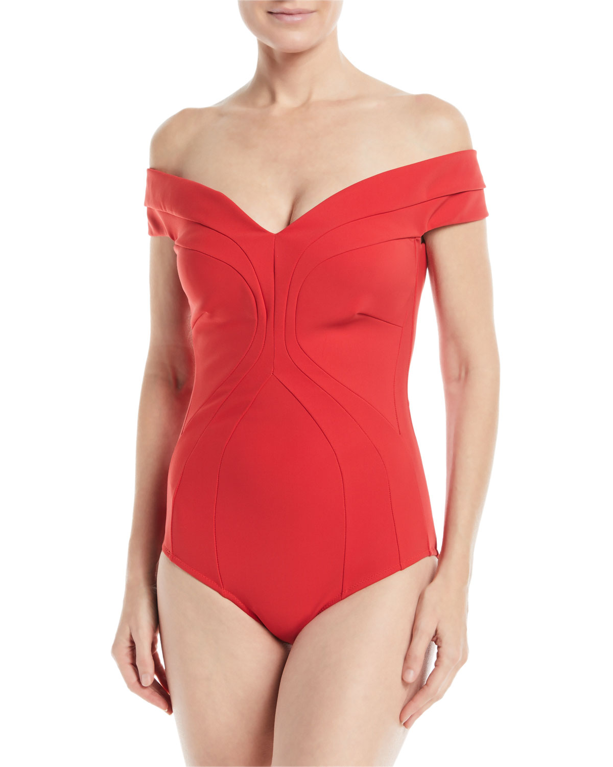 Gege Off-the-Shoulder Seamed One-Piece Swimsuit
