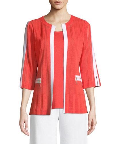 3/4 Sleeve Zipper-Pocket Jacket, Plus Size
