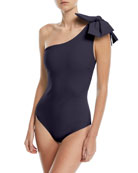 Sayla One-Shoulder One-Piece Swimsuit with Bow Detail
