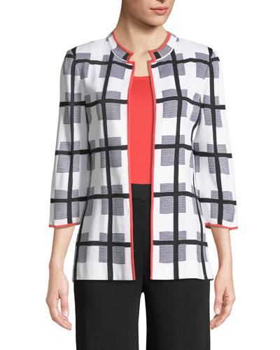 Grid 3/4-Sleeve Jacket