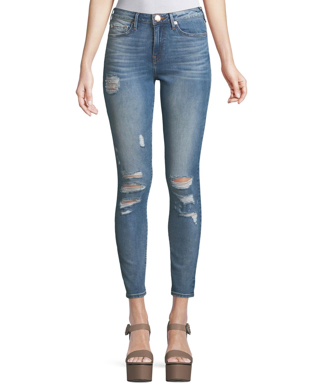 Halle High-Rise Distressed Super Skinny-Leg Jeans