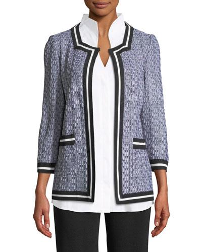 3/4-Sleeve Textured Jacket, Plus Size