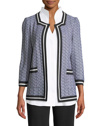 3/4-Sleeve Textured Jacket