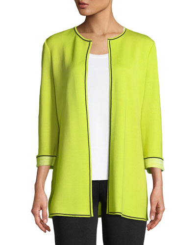 Long Solid Jacket with Contrast Piping