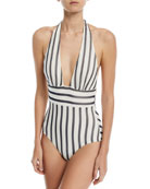 Plunging Striped One-Piece Swimsuit