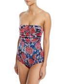 Rose-Print Strapless One-Piece Swimsuit