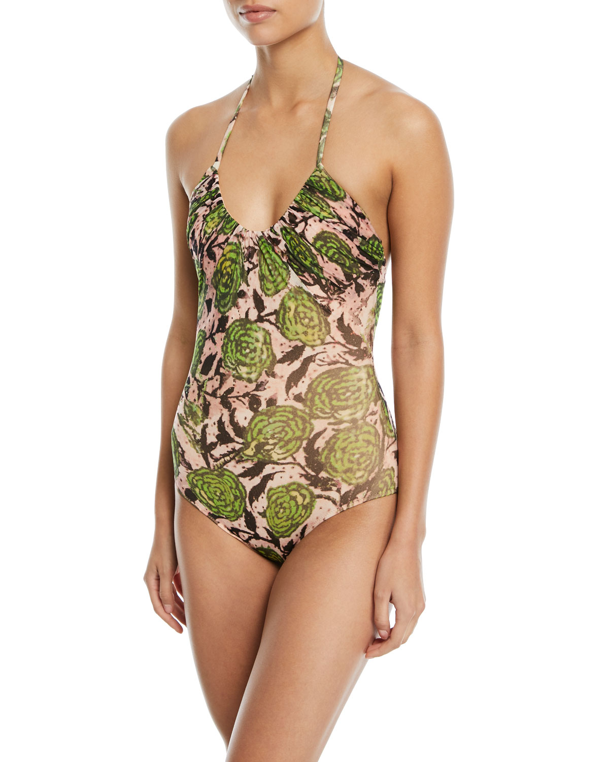 Scoop-Neck Halter Printed One-Piece Swimsuit