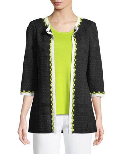 Chevron-Stitch Jacket, Plus Size
