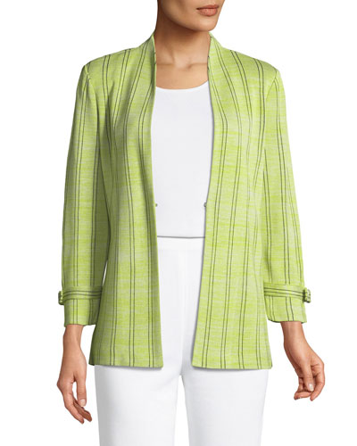 Striped Knit Jacket W/ Belted Cuffs, Plus Size