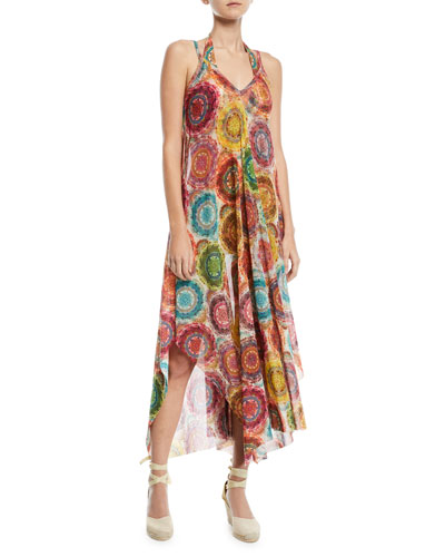 V-Neck Printed Coverup Maxi Dress