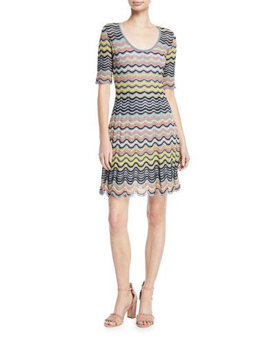 Wave Ripple Knit Half-Sleeve Dress