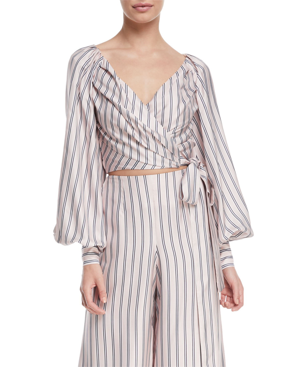 Sunny Striped Satin Crop Wrap Blouse