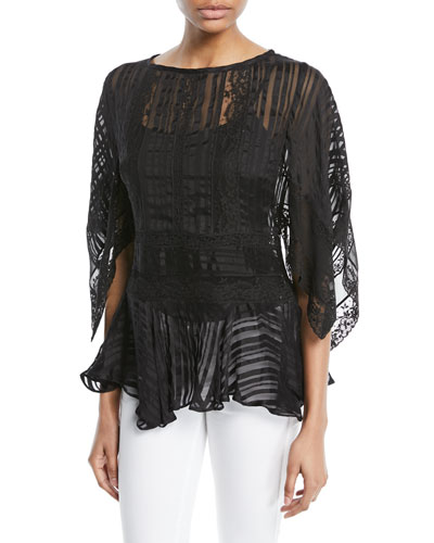 Breeze Veil Long-Sleeve Lace Blouse