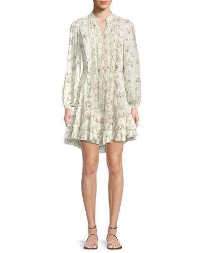Whitewave Pintuck Floral-Print Ruffle Mini Dress