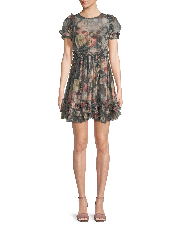 Sunny Floral-Print Silk Chiffon Mini Dress w/ Ruffled Trim