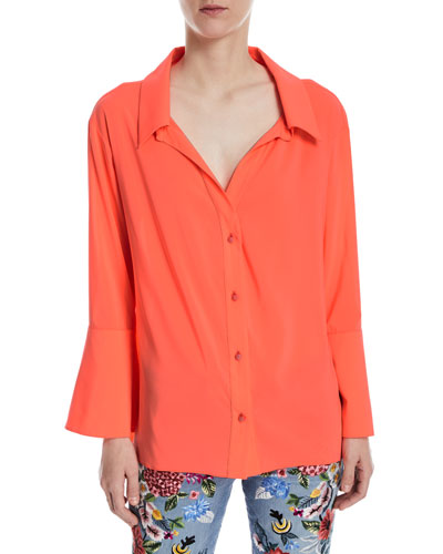 Denver Open-Neck Button-Front Oversized Blouse
