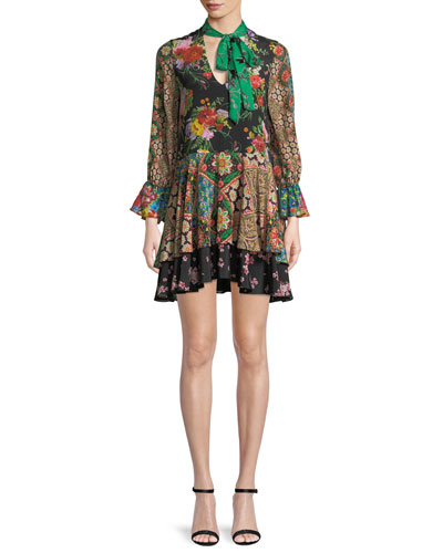 Moore V-Neck Scarf Floral-Print Silk Dress