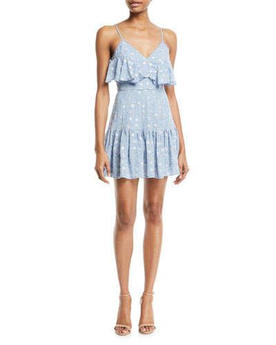 Ardency V-Neck Floral-Embroidered Dress with Frills