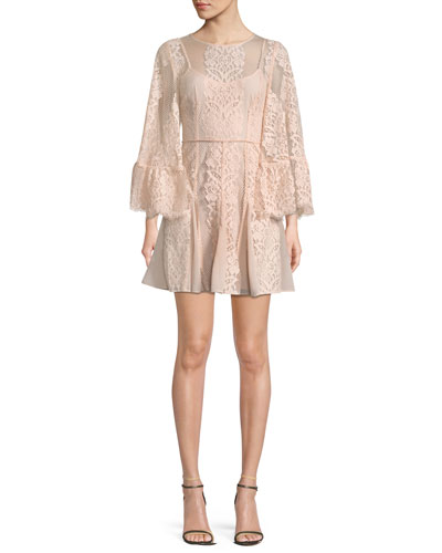 Lust Over Bell-Sleeve Lace Dress