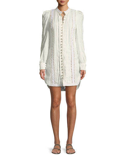 Breeze Corded-Lace Button-Front Long-Sleeve Linen Tunic