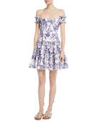 Maria Off-the-Shoulder Fit-and--Flare Floral-Print Poplin Dress