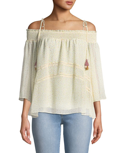 Casey Off-the-Shoulder Floral-Print Blouse with Tassel Ties
