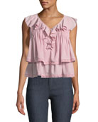 Everly Sleeveless Tiered Ruffled Top with Crochet Trim