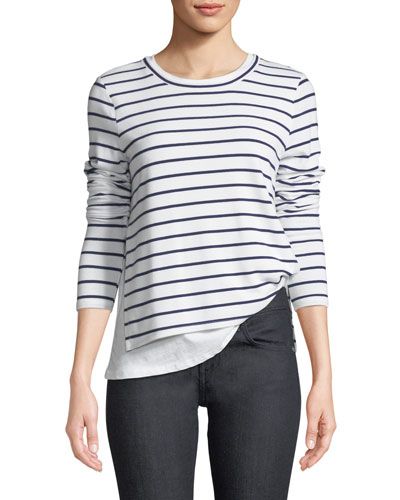 Ellie Crewneck Double-Layer Striped Top