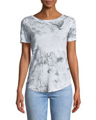 Graham Crewneck Abstract-Print Lace-Up Top