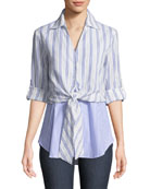 Timmons Layered Tie-Front Twofer Shirt