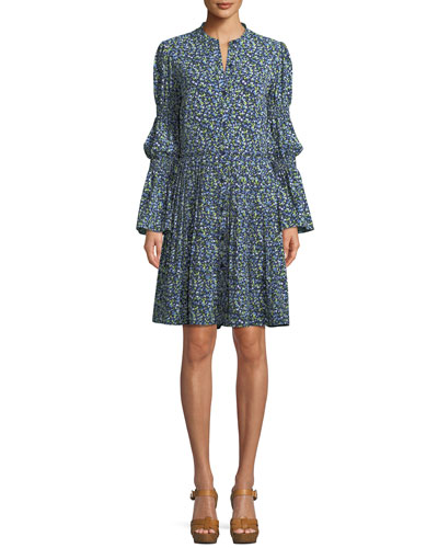 Smocked-Waist Floral-Print Shirt Dress